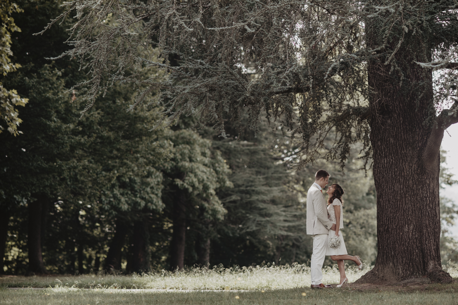 Photo de couple sous un arbre.