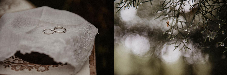 Alliances rustiques pour un mariage folk et authentique dans la nature au Coco Barn Wood Lodge à Angresse, Landes, Sud-ouest France. Reportage photo lifestyle mariage.