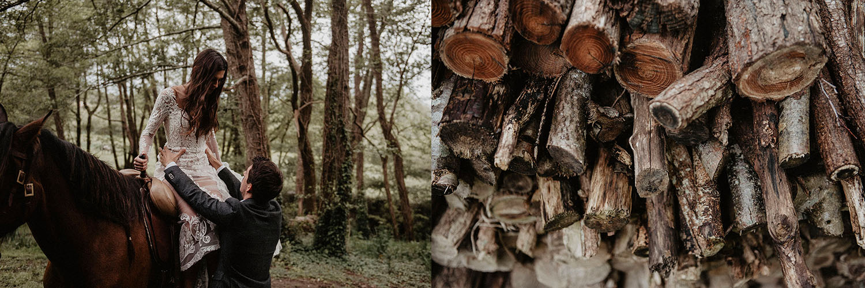 Mariage folk et rustique dans les bois au Coco Barn Wood Lodge, Landes, France. Photographe lifestyle Pau. Inspiration nature pour un mariage bohème.