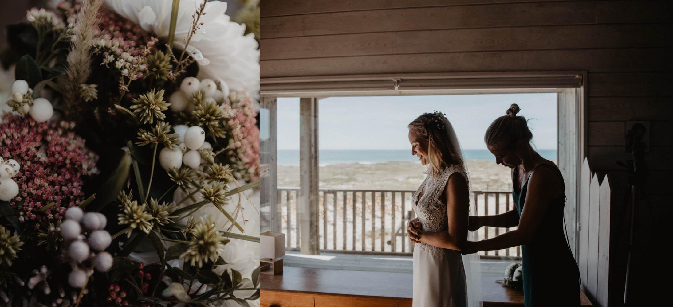 Préparatifs de la mariée sur la plage , Mariage folk et intimiste au bord de l'Océan, photographe Aquitaine, Pau, Hossegor, Seignosse