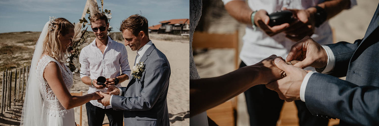 Echange d'alliances pendant la cérémonie laïque sur la plage. Photographe professionnel, reportage lifestyle, spontané. Pau, Biarritz, 64, 40.