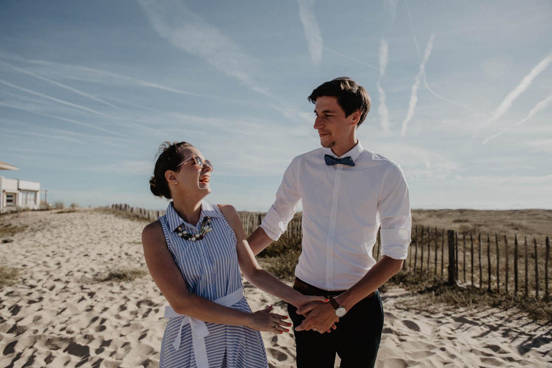 Séance photo couple mariage sur la plage. Photographe professionnel Pau, Biarritz , Aquitaine.