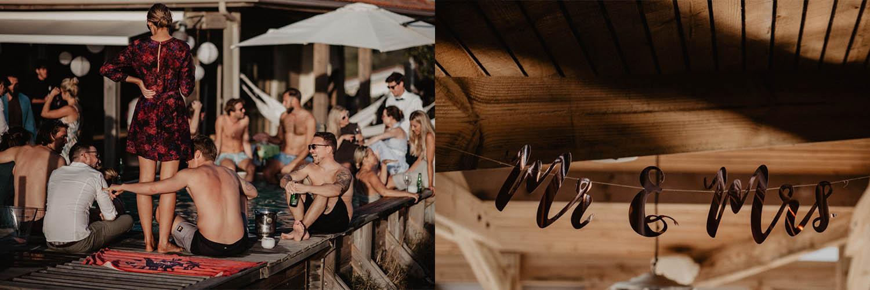 Mariage au bord de la piscine dans les Landes, mariage vue sur la mer. Photographe lifestyle, reportage photo mariage spontané et moderne, photos prises sur le vif sans poser. Photographe Pau, Hossegor, Biarritz, Aquitaine.