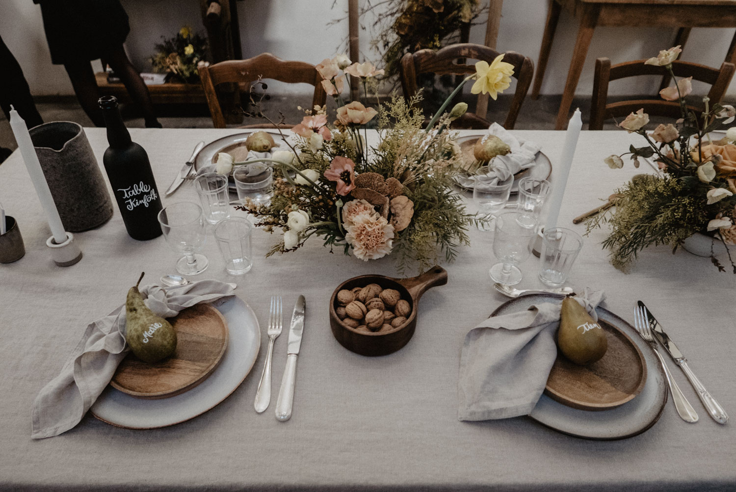 Table inspiration kinfolk et authentique, photographe mariage Aquitaine, Pau, Biarritz, Landes.