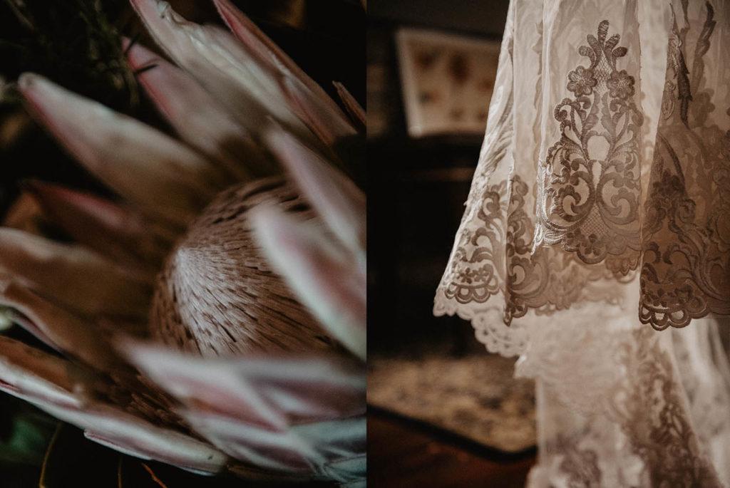 Détail de la traine, robe de mariée en dentelle brodée, fleur exotique protea, mariage Pau
