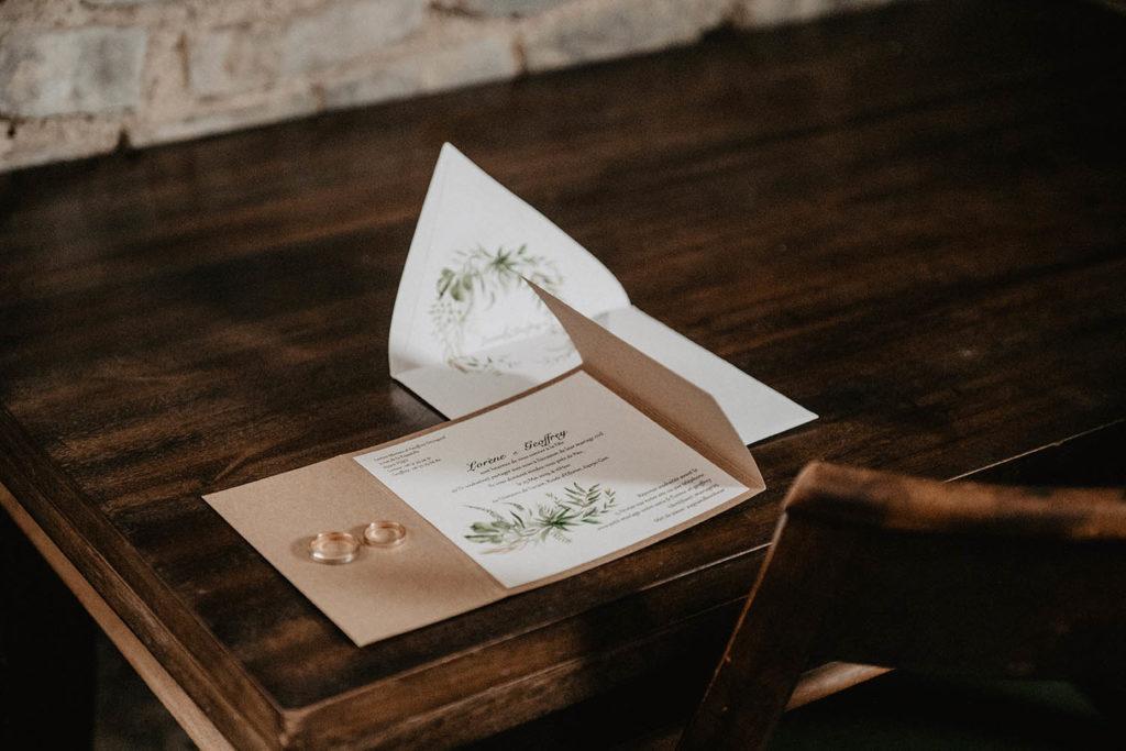 Faire part de mariage kraft, motif végétal, alliances Les gemmes de Morengo Biarritz