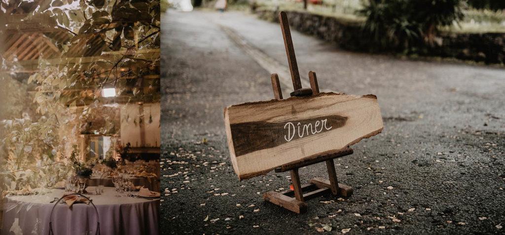 Diner de mariage champêtre au Domaine de Lucain, Pyrénées Atlantiques, panneau de signalisation original et rustique en bois brut