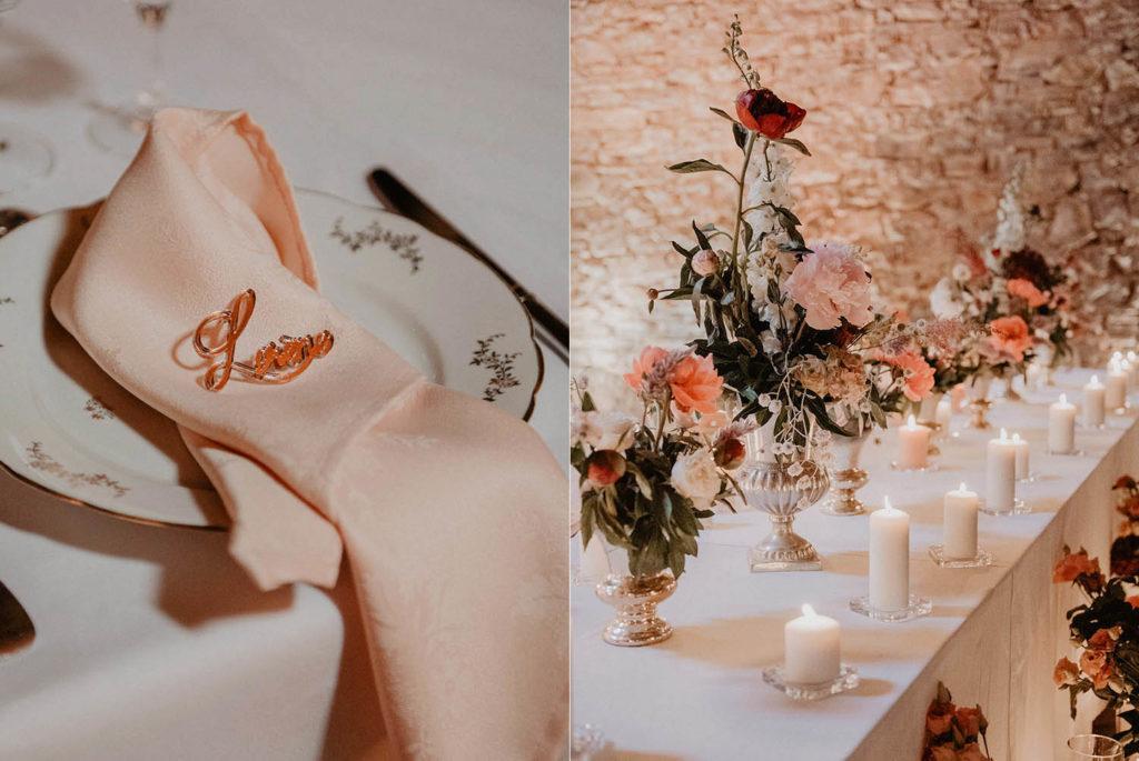 porte nom personnalisé doré pour table de mariage