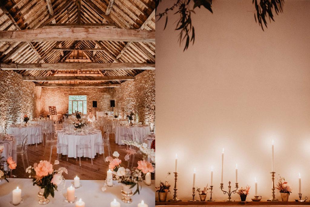 Déco de mariage rose et pêche, repas au Domaine de Lucain