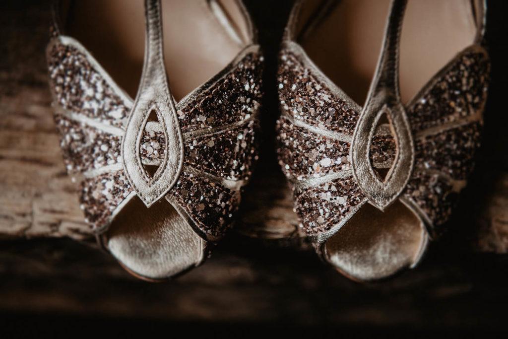 Chaussures de mariage à paillette, créatrice Rachel Simpson