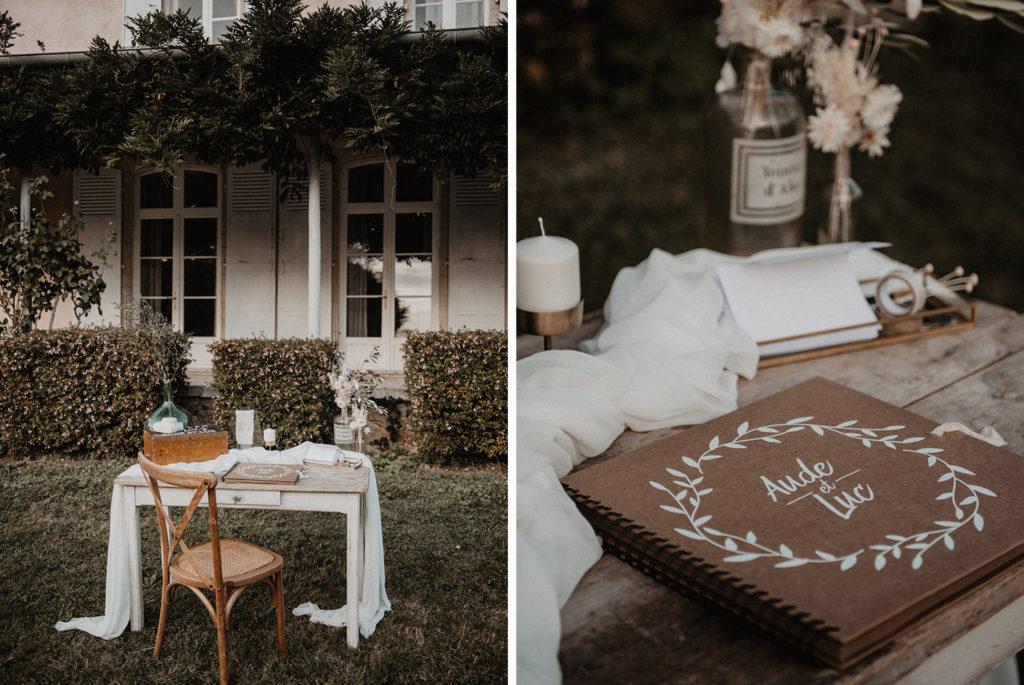 mariage chateau Monbet déco vintage bohème